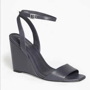 Brooks Brothers Leather Ankle Strap Open Toe Wedge